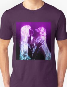 Digitally enhanced image of Human and Dog face to face  Unisex T-Shirt
