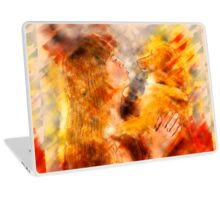 Digitally enhanced image of Human and Dog face to face  Laptop Skin