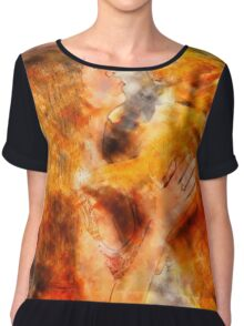 Digitally enhanced image of Human and Dog face to face  Chiffon Top