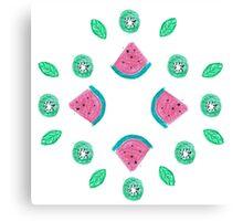 Watermelon and kiwi pattern Canvas Print