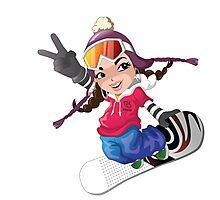 Girl snow boarding Photographic Print