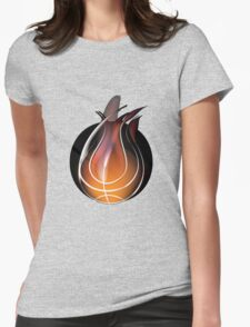 Abstract of volleyball with flame design Womens Fitted T-Shirt