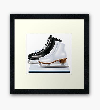 Ice hockey shoes icons Framed Print
