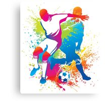 Colorful football players at play Canvas Print