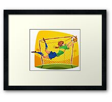 Funny cartoon goal keeping design Framed Print