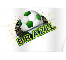 Soccer beautiful texture with brazil colors Poster