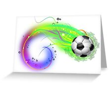 Soccer ball on colorful lightning way Greeting Card