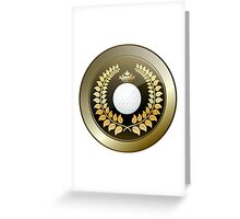Golden crown golf club shield Greeting Card