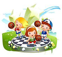 Basketball sport kids art Photographic Print