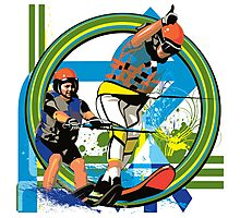 Water skiers Photographic Print