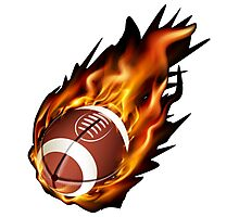 Realistic American football in the fire Photographic Print
