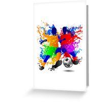 Soccer players dribble paint splash Greeting Card