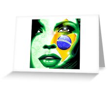 Brazil flag paint on girl face Greeting Card