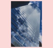 Glossy Glass Reflections - Skyscraper Geometry With Clouds - Right One Piece - Long Sleeve