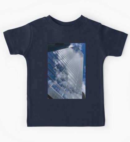 Glossy Glass Reflections - Skyscraper Geometry With Clouds - Right Kids Tee