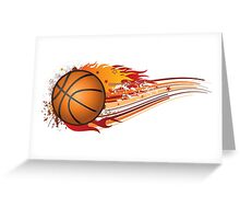 Basketball in fire Greeting Card
