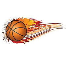 Basketball in fire Photographic Print