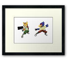Fox and Falco StarFox Melee Design Framed Print