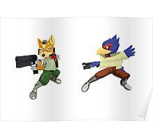 Fox and Falco StarFox Melee Design Poster