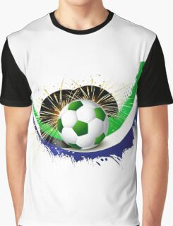Beautiful brazil colors concept wave soccer ball Graphic T-Shirt