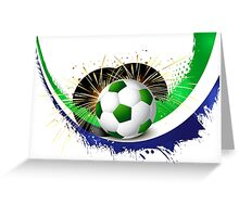 Beautiful brazil colors concept wave soccer ball Greeting Card