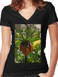 Vivid, Showy Orange Crown Imperial Flower Women's Fitted V-Neck T-Shirt