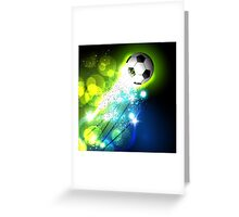 Glowing soccer ball on abstract background Greeting Card