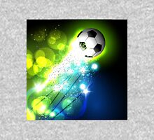 Glowing soccer ball on abstract background Unisex T-Shirt