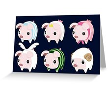 Poogie Piggie Monster Hunter Print all 6  Greeting Card
