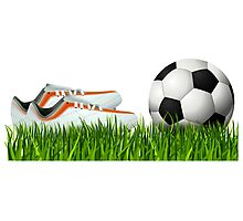 Orange soccer shoes with football Photographic Print