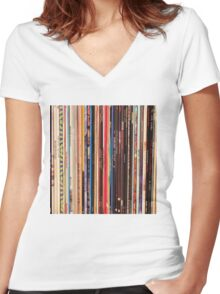 Vinyl Records Indie Rock  Women's Fitted V-Neck T-Shirt