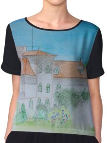 Watercolour View of a Portuguese House Chiffon Top