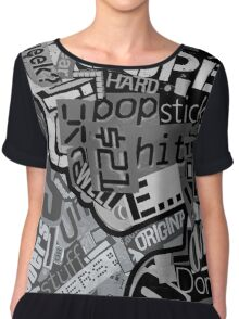 Typography Grayscale Chiffon Top