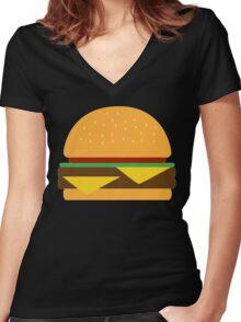 Burger Women's Fitted V-Neck T-Shirt