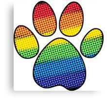 Rainbow Halftone Dog Paw Canvas Print
