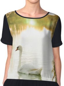 Summer Swan on the Thames  Chiffon Top