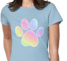 Crystal Rainbow Pastel Dog Paw Womens Fitted T-Shirt