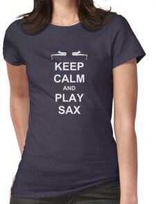 Play Sax (White) Womens Fitted T-Shirt