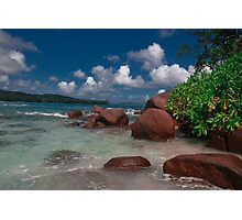 Seychelles Beach Rock Formation Photographic Print