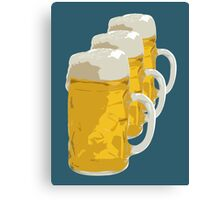 3 mugs of beer Canvas Print