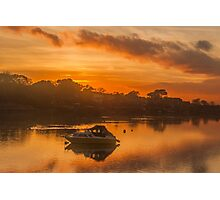 Sunset over Tranquil River and Bank Photographic Print