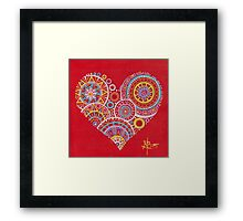 Colourful heart on red Framed Print