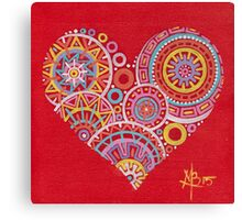 Colourful heart on red Canvas Print