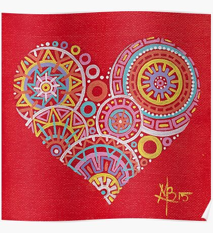 Colourful heart on red Poster