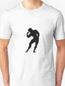 Bodybuilder showing hand muscles Unisex T-Shirt