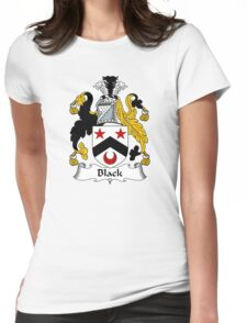 Black Coat of Arms/ Black Family Crest Womens Fitted T-Shirt