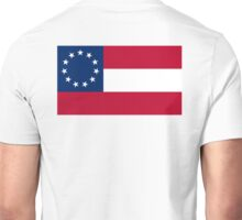 Stars & Bars, USA, America, First American National Flag, 11 stars, 1861, on WHITE Unisex T-Shirt