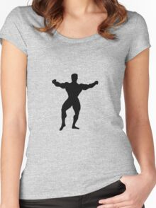 Bodybuilder showing body muscles Women's Fitted Scoop T-Shirt