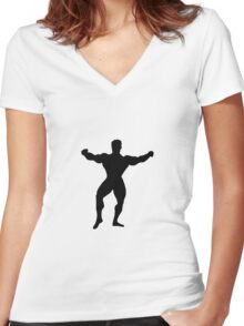 Bodybuilder showing body muscles Women's Fitted V-Neck T-Shirt