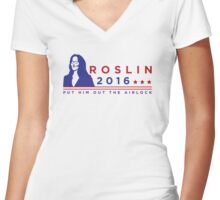 """ROSLIN 2016 - """"PUT HIM OUT THE AIRLOCK!"""" Women's Fitted V-Neck T-Shirt"""